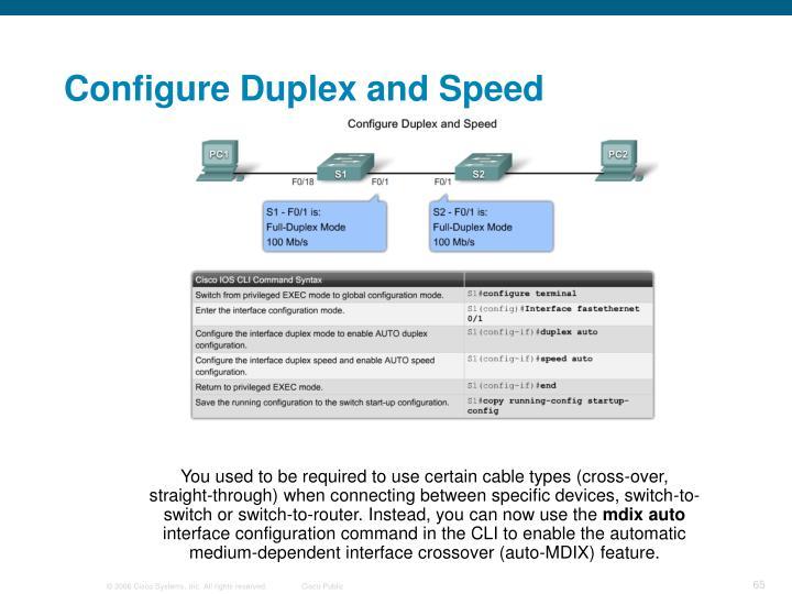 Configure Duplex and Speed