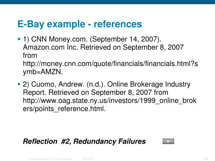 E-Bay example - references