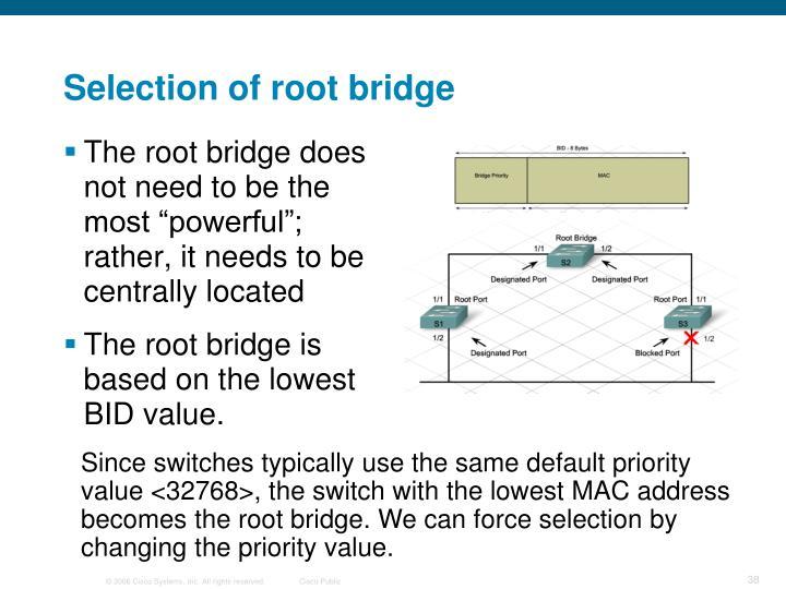 Selection of root bridge