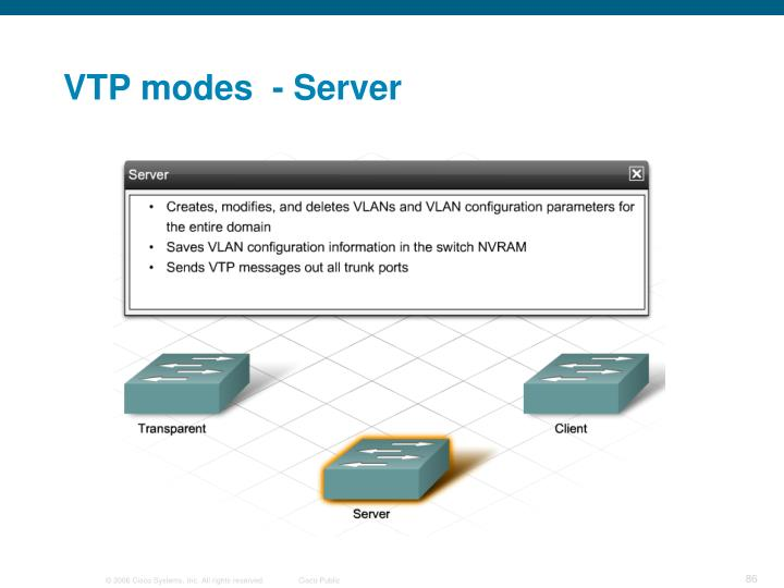 VTP modes  - Server