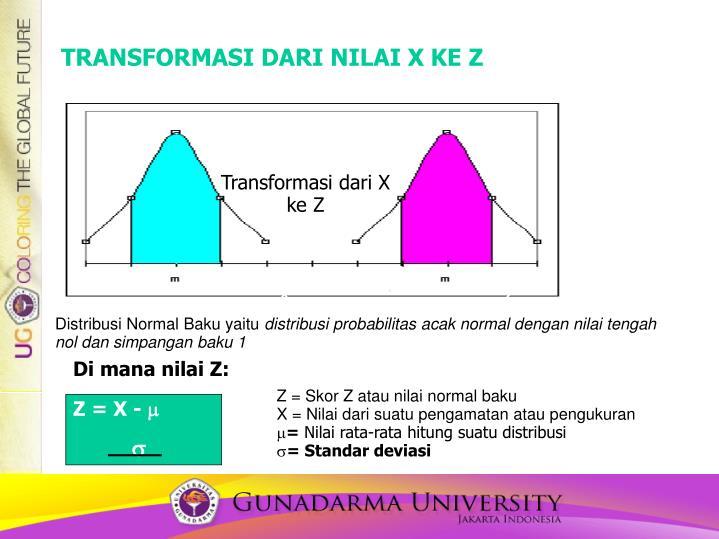 TRANSFORMASI DARI NILAI X KE Z
