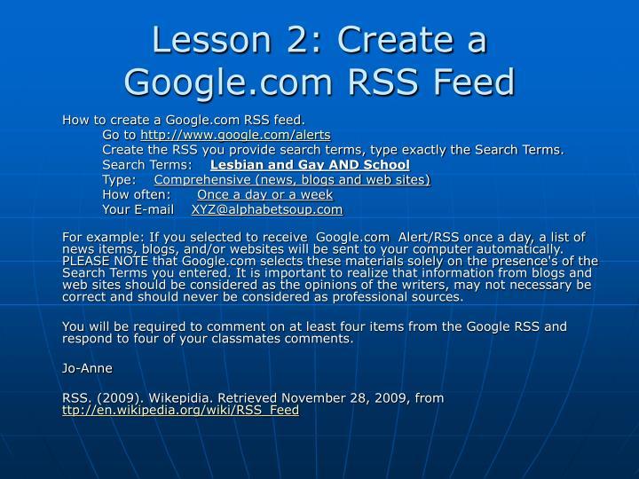 Lesson 2: Create a