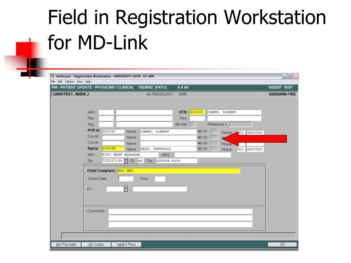 Field in Registration Workstation for MD-Link