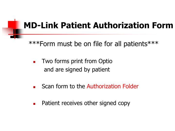 MD-Link Patient Authorization Form