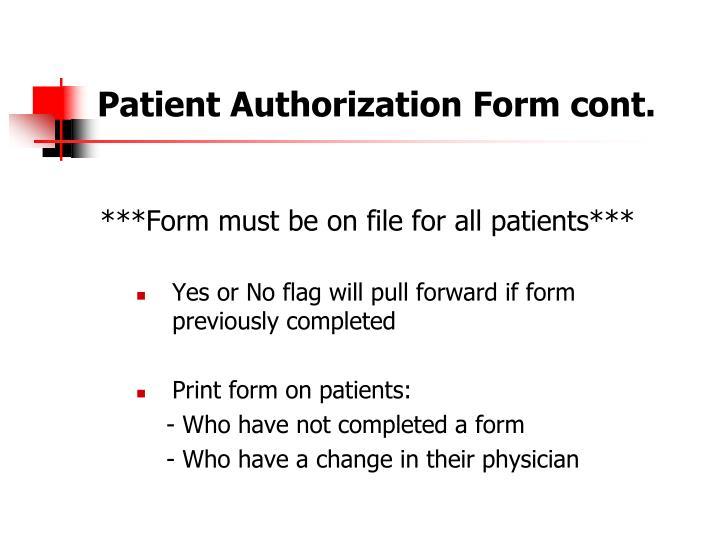Patient Authorization Form cont.