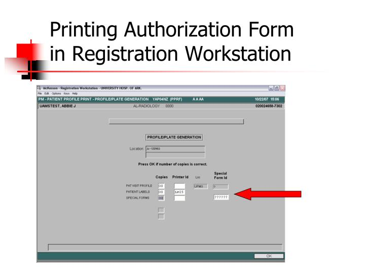 Printing Authorization Form