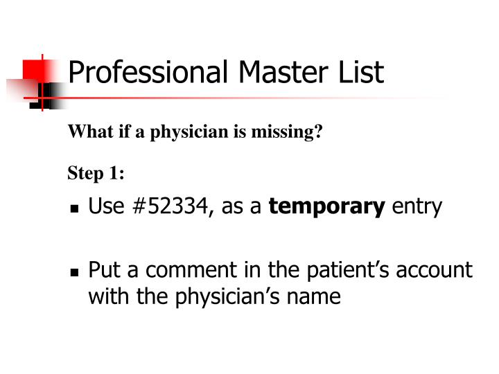 Professional Master List