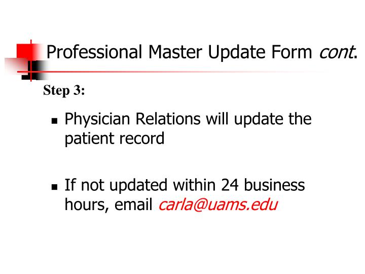 Professional Master Update Form