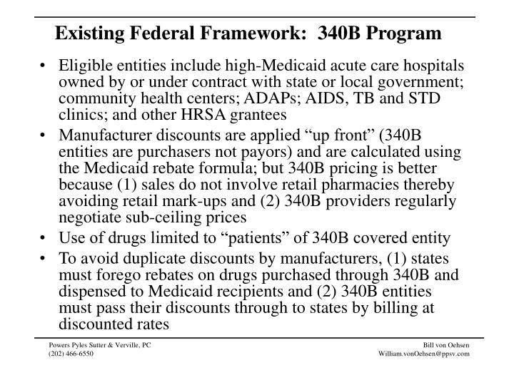 Existing Federal Framework:  340B Program