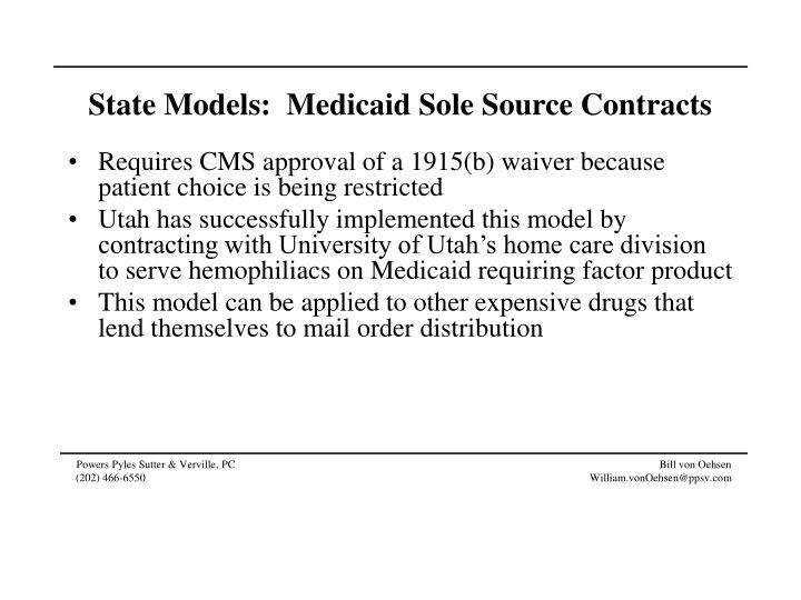 State Models:  Medicaid Sole Source Contracts