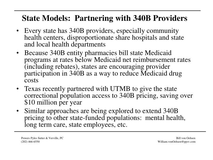 State Models:  Partnering with 340B Providers