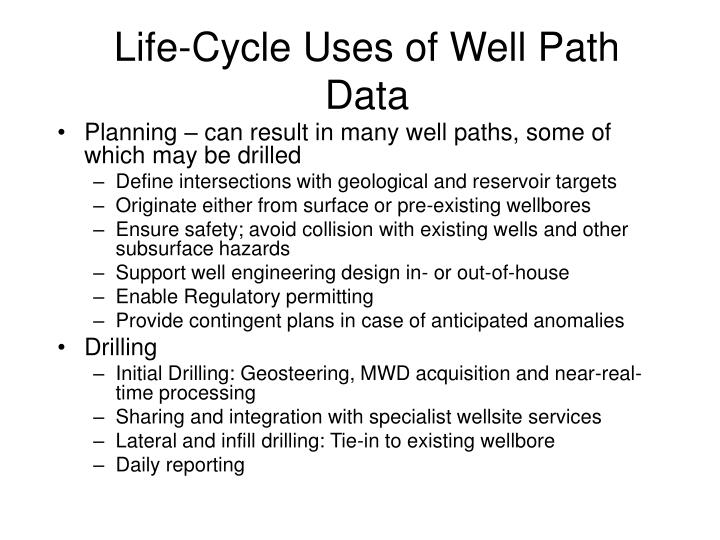 Life-Cycle Uses of Well Path Data