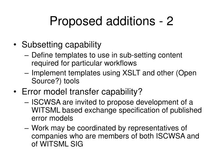 Proposed additions - 2