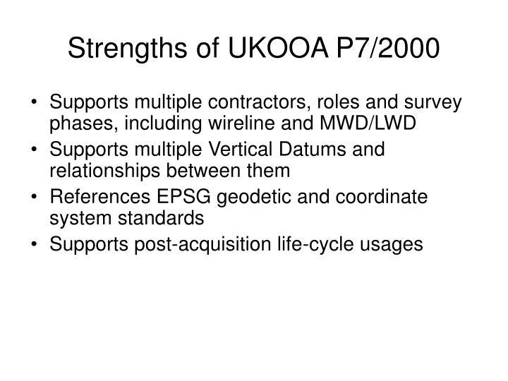 Strengths of UKOOA P7/2000