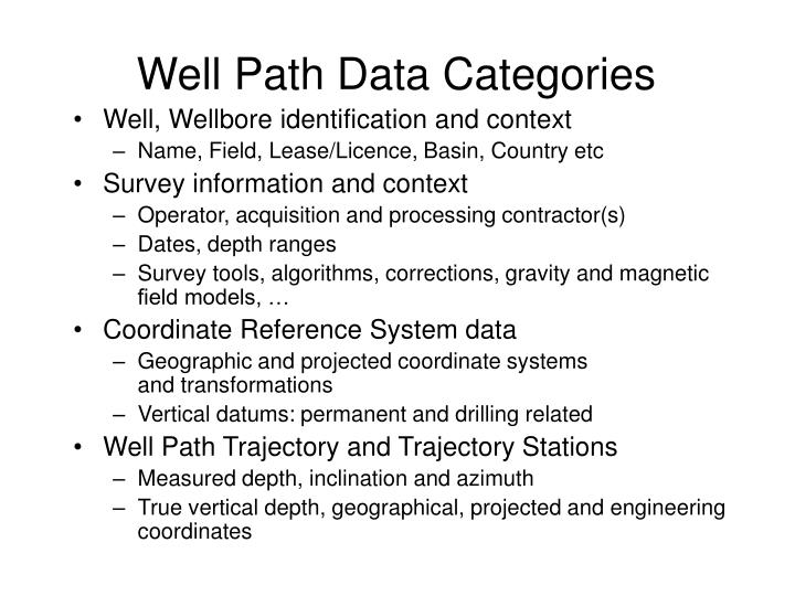 Well Path Data Categories