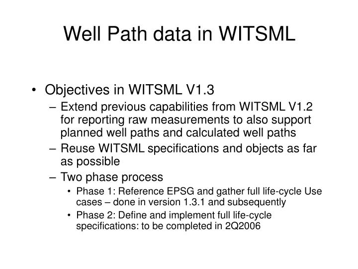 Well Path data in WITSML