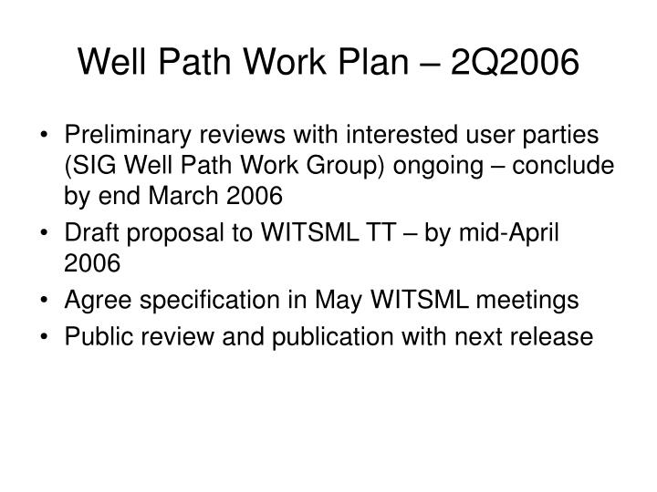 Well Path Work Plan – 2Q2006