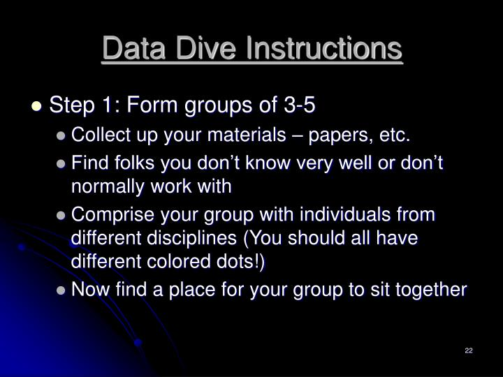 Data Dive Instructions