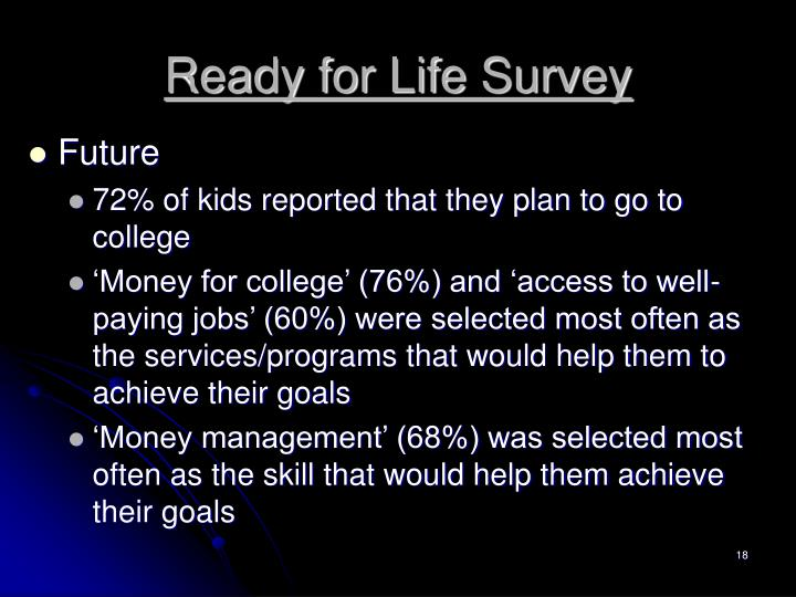 Ready for Life Survey