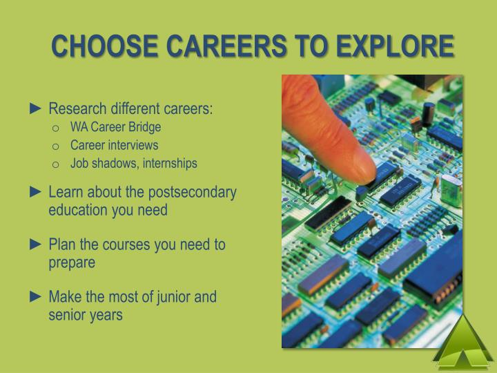 CHOOSE CAREERS TO EXPLORE