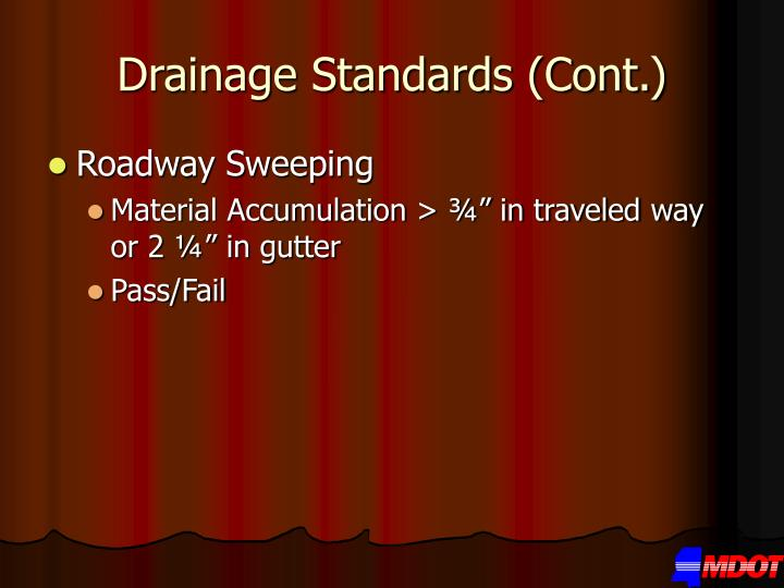 Drainage Standards (Cont.)