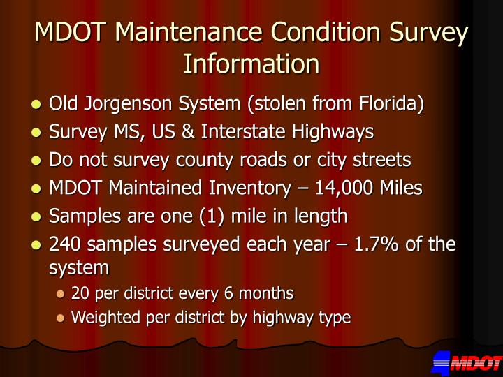 Mdot maintenance condition survey information