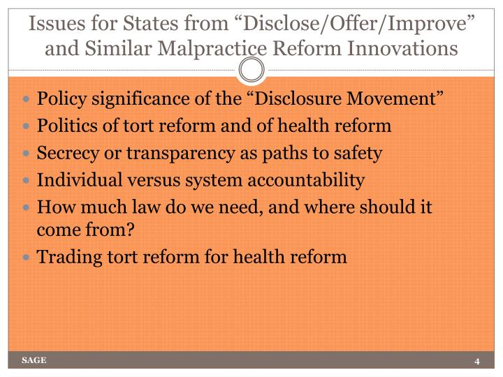 "Issues for States from ""Disclose/Offer/Improve"" and Similar Malpractice Reform Innovations"
