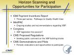 horizon scanning and opportunities for participation