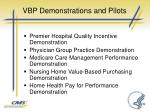 vbp demonstrations and pilots