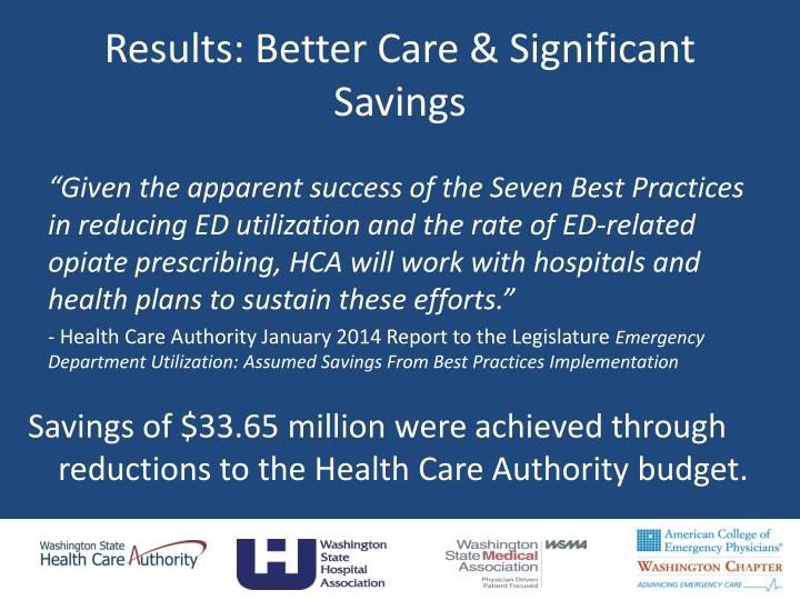 Results: Better Care & Significant Savings