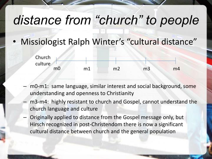 """distance from """"church"""" to people"""