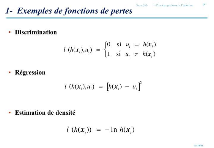 1-  Exemples de fonctions de pertes