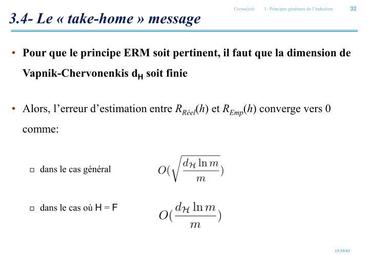 3.4- Le «take-home» message