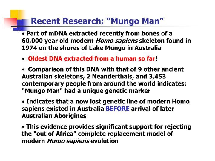 "Recent Research: ""Mungo Man"""