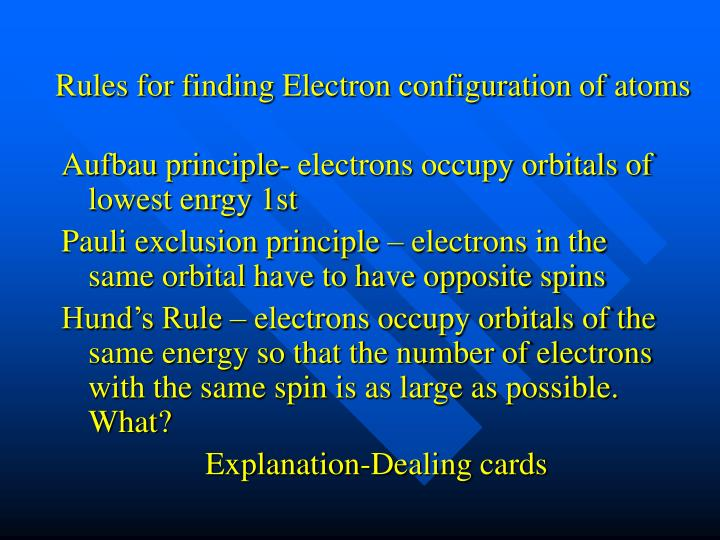 Rules for finding Electron configuration of atoms