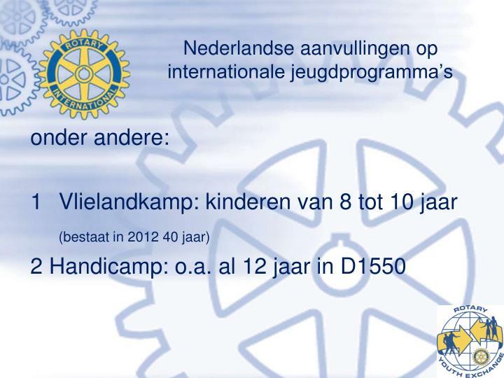 Nederlandse aanvullingen op internationale jeugdprogramma's