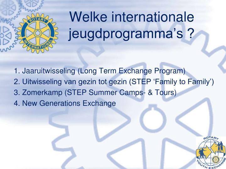 Welke internationale jeugdprogramma's ?