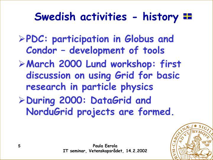 Swedish activities - history