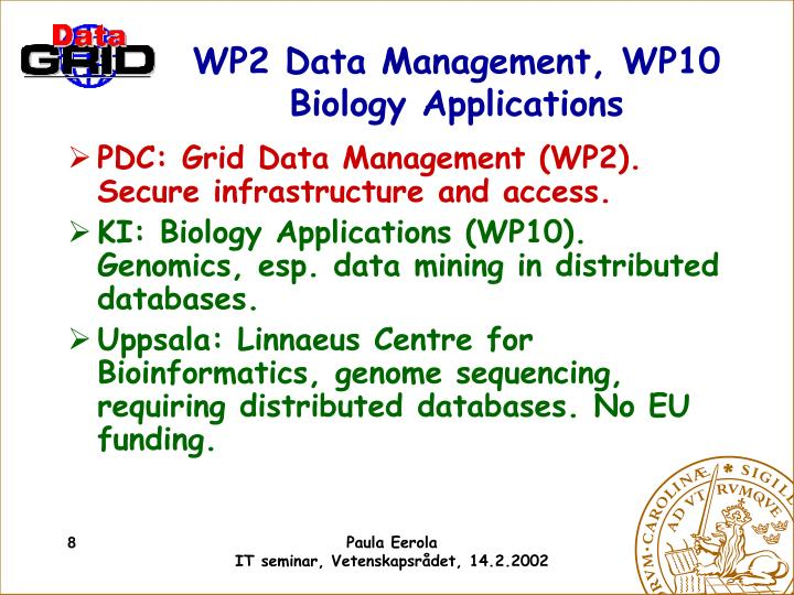 WP2 Data Management, WP10 Biology Applications