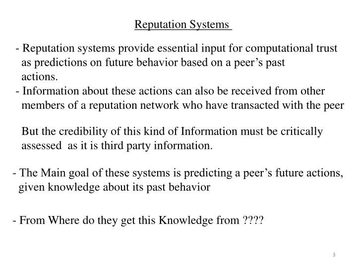 Reputation Systems