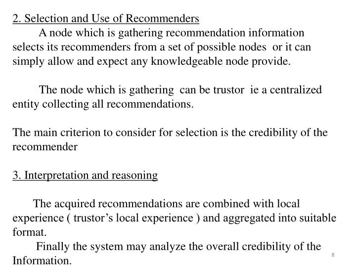2. Selection and Use of Recommenders