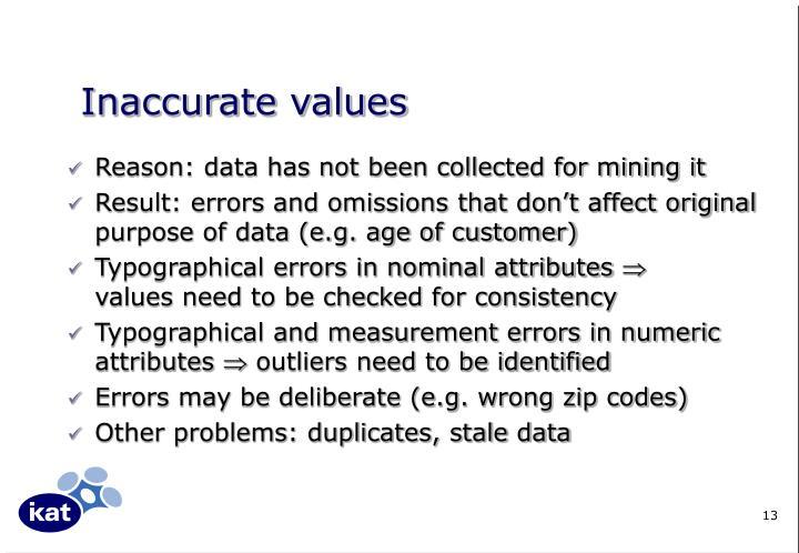Inaccurate values