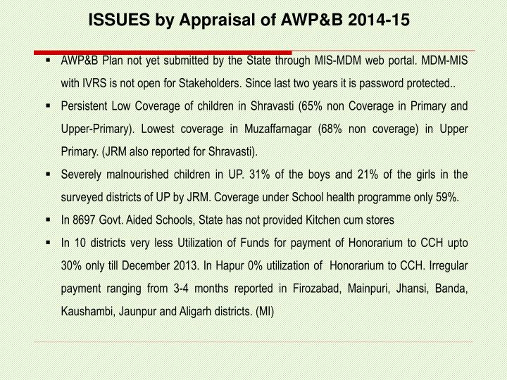 ISSUES by Appraisal of AWP&B 2014-15