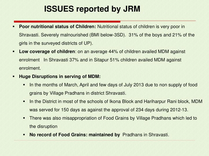 ISSUES reported by JRM