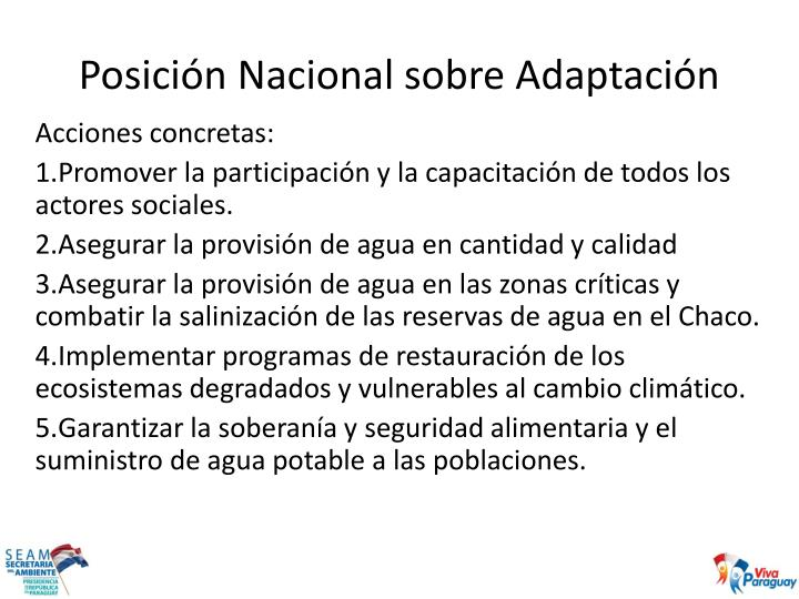 Posición Nacional sobre Adaptación