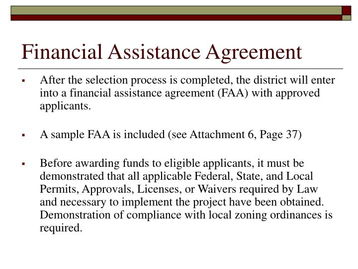 Financial Assistance Agreement