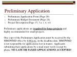 preliminary application