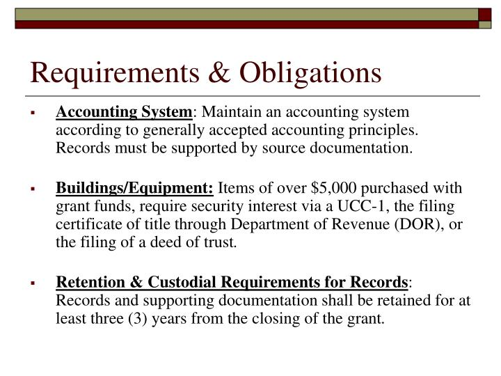 Requirements & Obligations