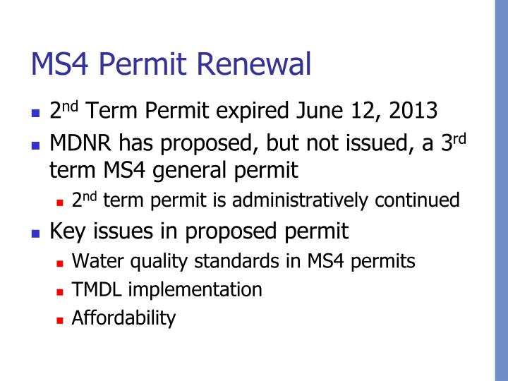 MS4 Permit Renewal