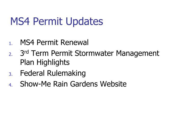 MS4 Permit Updates